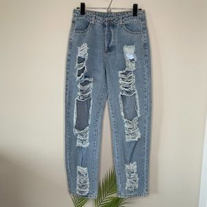 Shein Highwaisted Distressed Mom Jeans Size Small